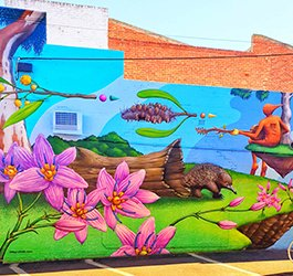 Colourful hand painted wall mural depicting a bush scene that includes flowering plants and native animal as well as a whimsical pixie playing a stringed musical instrument